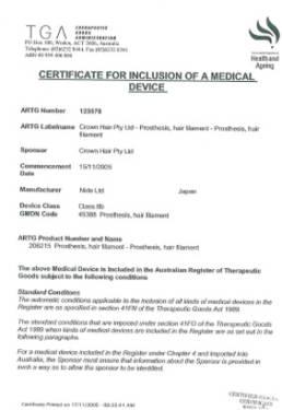 TGA Certificate